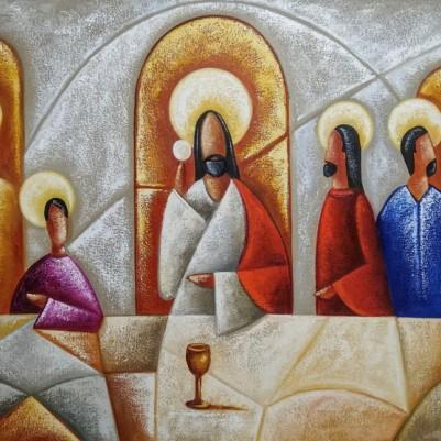 Quadro pintado a mão Santa ceia espatulada,para decoração medida 70x150 código 1333