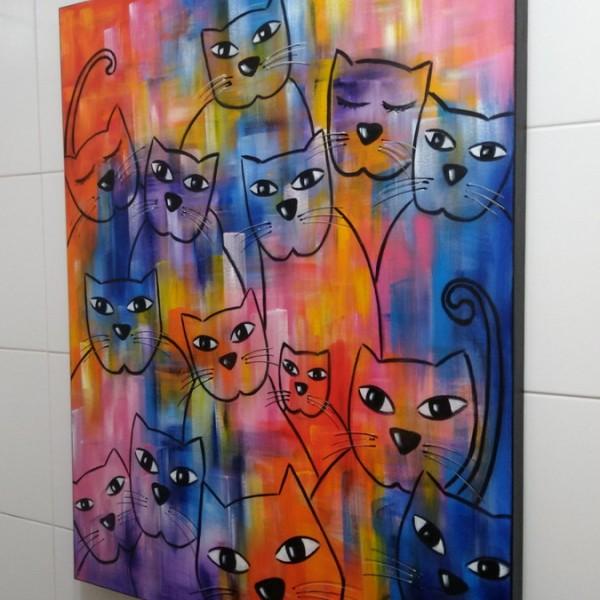Quadro decorativo pintado a mão gatos 2A medida 80x100 cod 1344