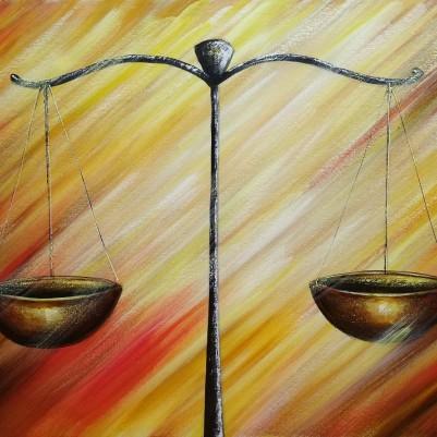 Quadro decorativo para escritório advocatício tema balança da justiça fundo abstrato 2a medida 50x70 código 787