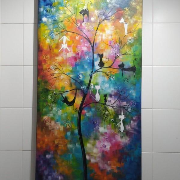 Quadro decorativo pintado a mão Arvores de gatos  medida 160x80 cod 1371