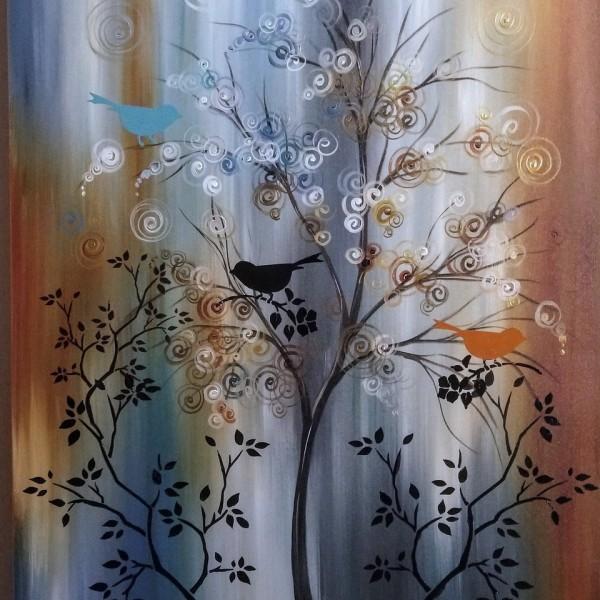 Quadro decorativo pintado a mão tema arvores e passarinhos estilo moderno 3a, vertical,  70x90 código 1373