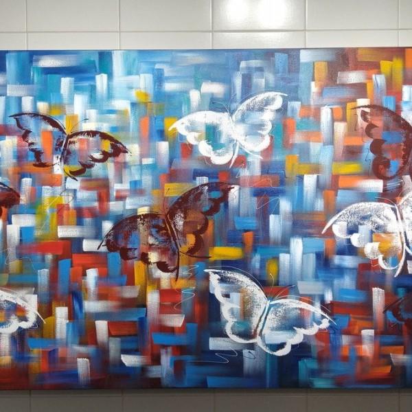 Quadro decorativo pintado a mão borboletas 90x180 COD 1374