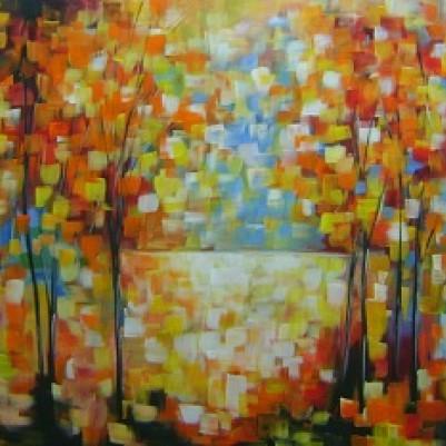 Quadro decorativo pintado a mão paisagem abstrato arvores 70x120 COD 974
