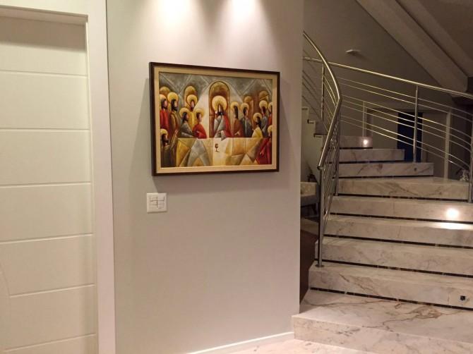 Quadro pintado a mão Santa ceia espatulada,para decoração medida 60x80 códio 970